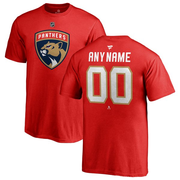 Youth Florida Panthers Fanatics Branded Red Personalized Team Authentic T-Shirt
